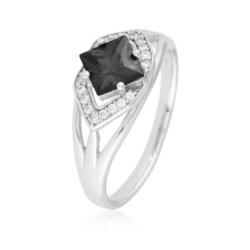 Pierścionek z czarnym kryształem- Xuping PP1871