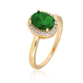 Pierścionek z zielonym kryształem - Xuping PP2084