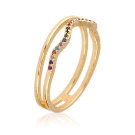 Pierścionek - kolorowe kryształki - Xuping PP2323