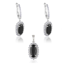 Komplet biżuterii - black crystal - Xuping PK511