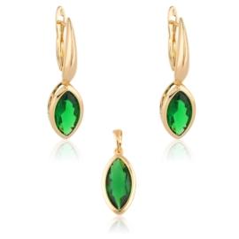 Komplet biżuterii - zielone łezki - Xuping PK512