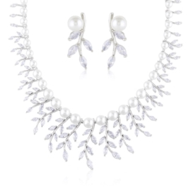Komplet biżuterii ślubnej z perłami Xuping - SKO85