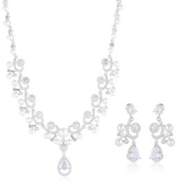 Komplet biżuterii ślubnej z perłami Xuping - SKO94