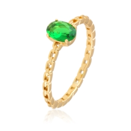 Pierścionek z zielonym oczkiem - Xuping PP2786