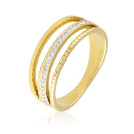 Pierścionek stal z kryształkami Xuping PP3080