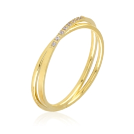 Pierścionek stal z kryształkami Xuping PP3081