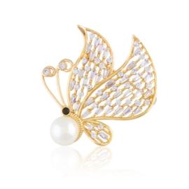 Broszka motylek z perłą - Xuping BR70