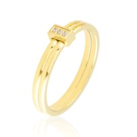 Pierścionek stalowy z kryształkami Xuping PP3906