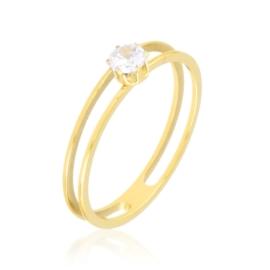 Pierścionek stalowy z kryształkiem Xuping PP3908